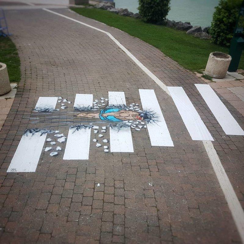 Французский художник использует самую популярную разметку, чтобы выразить свои творческие задумки зебра, оригинально, пешеходная дорожка, стрит-арт, фото, художник
