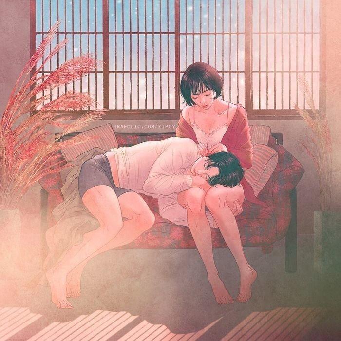 8. Любовь, близость, иллюстратор, иллюстрация, нежность, фотошоп, цифровая живопись, чувства