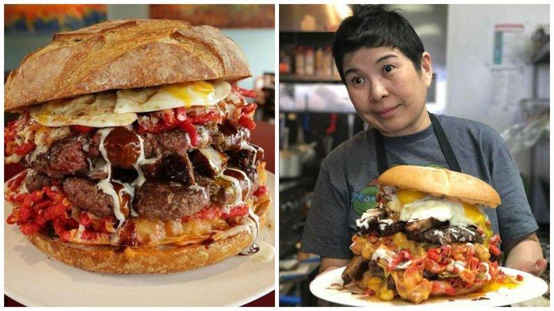 Бургер весом 7 кг, которым можно накормить семерых бургер, бургеры, вот это да!, гигантский, еда, и такое бывает, лас-вегас, сша