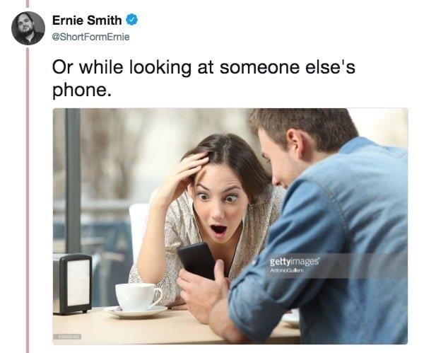 """""""Или заглядывая в чей-нибудь телефон"""" meme, выражение лица, забавное, интернет мем, смешное, стоковые фото, шок, шок это по-нашему"""