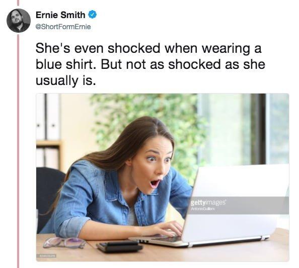 """""""И даже когда на ней надета голубая рубашка. Но в этом случае шок не такой сильный, как обычно"""" meme, выражение лица, забавное, интернет мем, смешное, стоковые фото, шок, шок это по-нашему"""