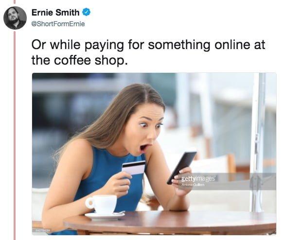 """""""Или оплачивая что-нибудь онлайн в кофешопе"""" meme, выражение лица, забавное, интернет мем, смешное, стоковые фото, шок, шок это по-нашему"""