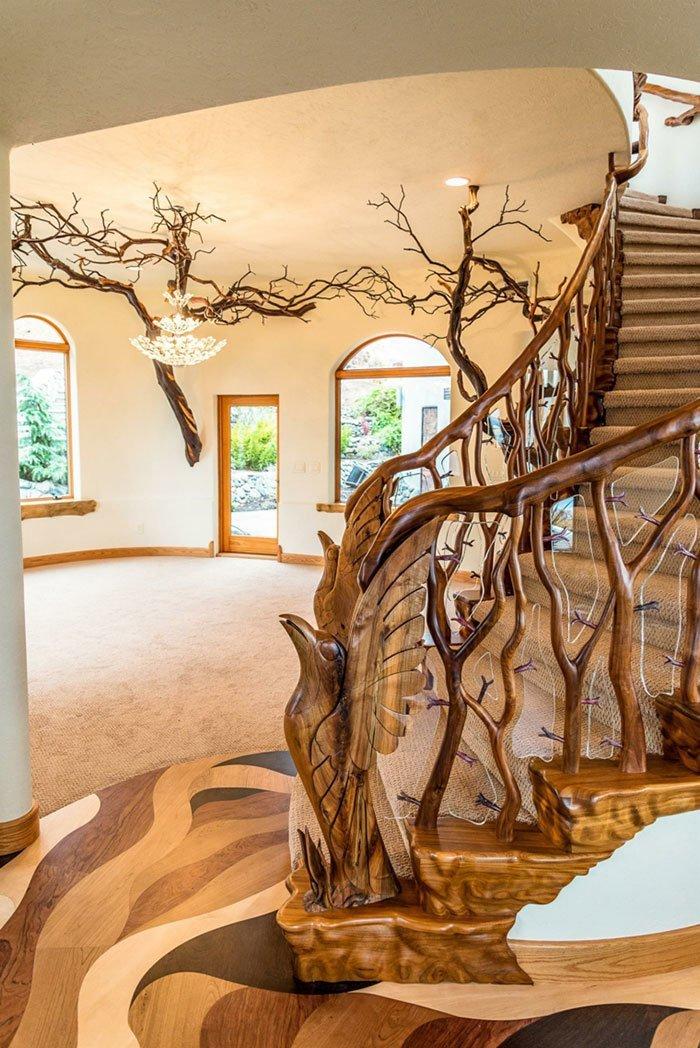 Причудливая лестница была изготовлена из ветвей манзанита oregon, властелин колец, дизайн, дом, мир, толкин, фото