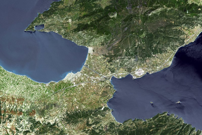 Вид из космоса греция, интересное, канал, корабли, путешествия, узкий канал, фото