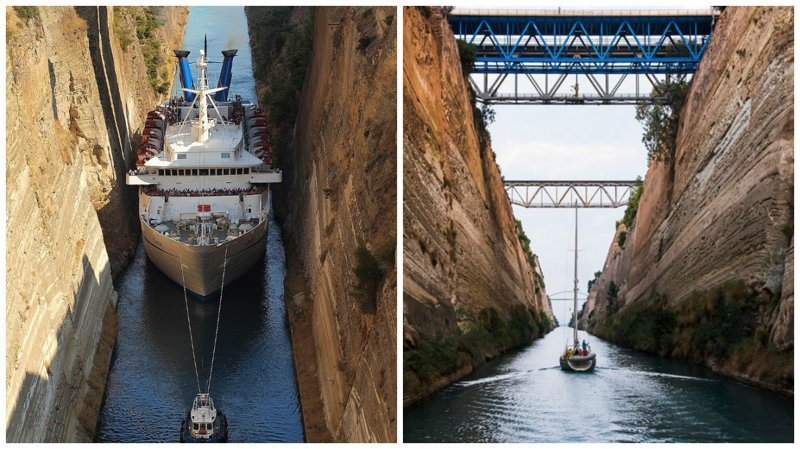 Коринфский канал греция, интересное, канал, корабли, путешествия, узкий канал, фото