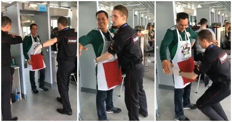 Мексиканский болельщик подшутил над сотрудником российской полиции видео, мексика, обыск, прикол, розыгрыш, россия, фартук, футбол