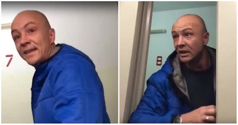 Мужчина пришел в ярость из-за громкой музыки из квартиры соседей посреди ночи Вписка, видео, девушки, конфликт, лифт, разборки