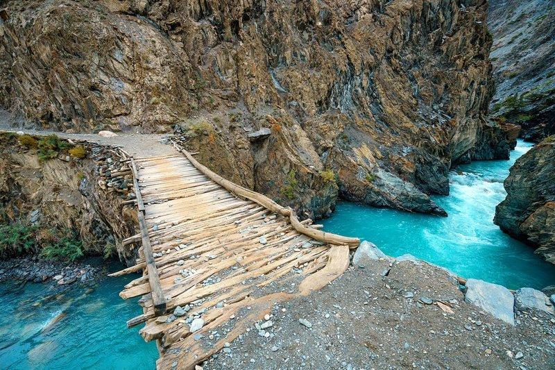 Мостик над рекой Вахандарья Ваханский коридор, афганистан, вид, горы, природа, путешествие, фотомир