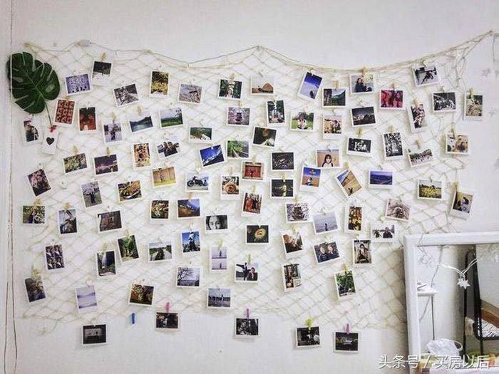 Одну из стен она украсила сетью с прикреплёнными к ней фотографиями история, комната, ремонт