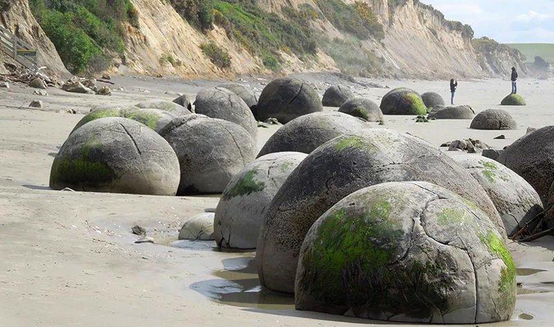 Самые знаменитые гигантские конкреции. Валуны Моераки. Новая Зеландия бобовины, геология, земля, камни, конкреции, чудо