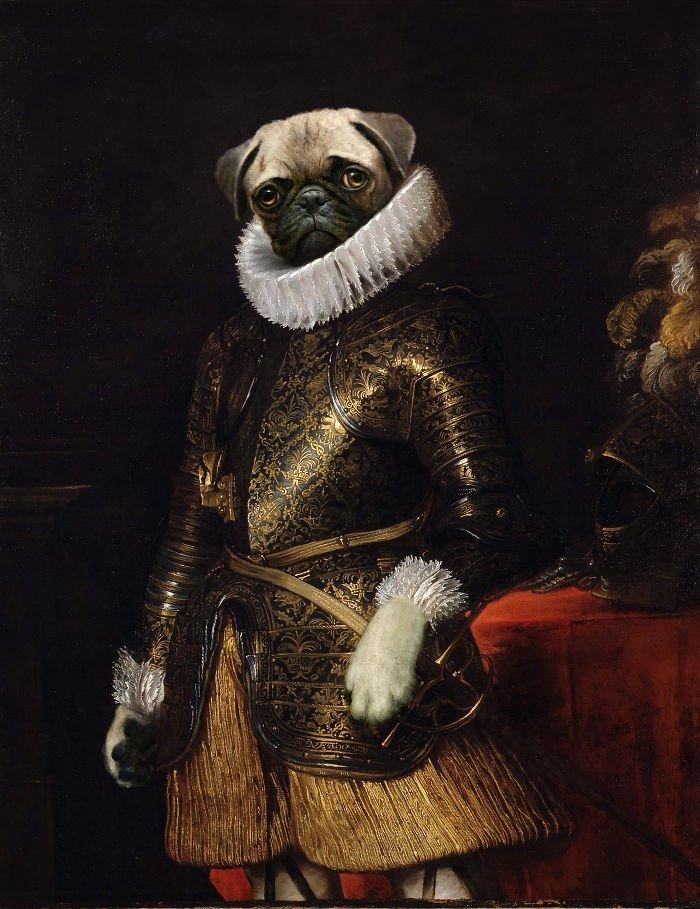 7. Генерал Мопс возрождение, животные, необычное, портрет, портреты, портреты животных, проект, художник