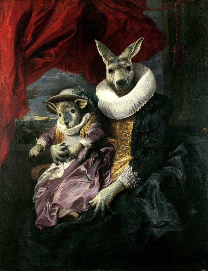 3. Герцогиня Кенгуру возрождение, животные, необычное, портрет, портреты, портреты животных, проект, художник