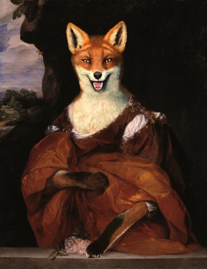 1. Леди Лисица возрождение, животные, необычное, портрет, портреты, портреты животных, проект, художник