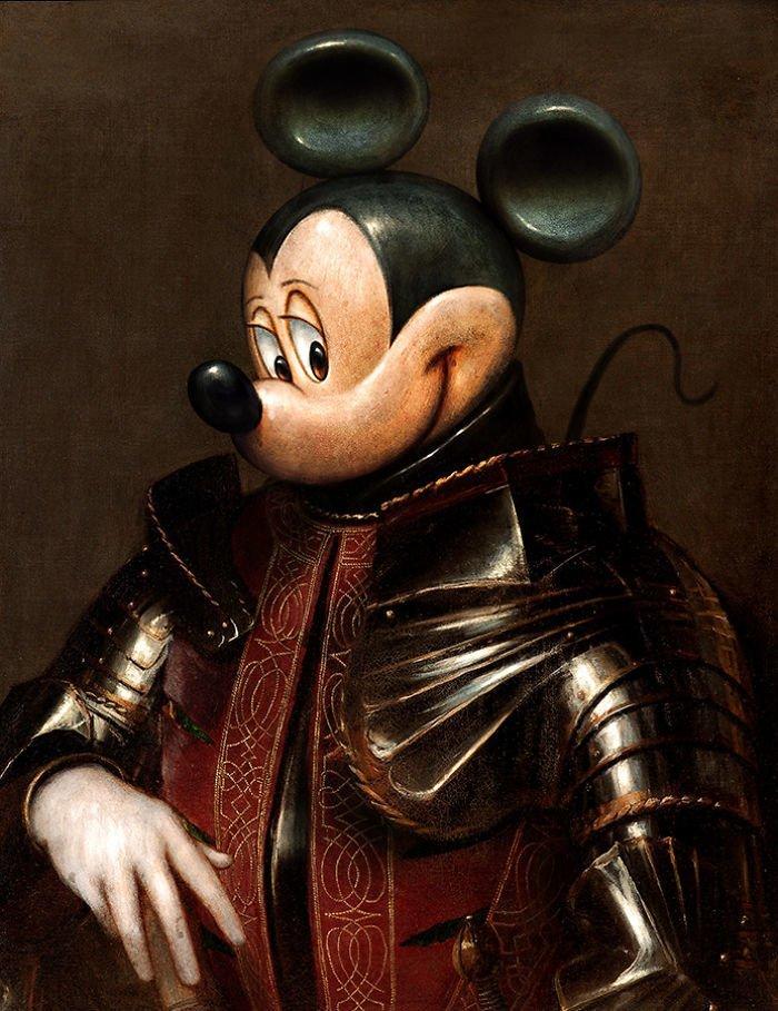 23. Средневековый Микки возрождение, животные, необычное, портрет, портреты, портреты животных, проект, художник