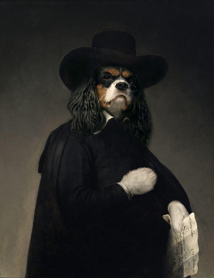 10. Посол Чарльз-спаниель возрождение, животные, необычное, портрет, портреты, портреты животных, проект, художник