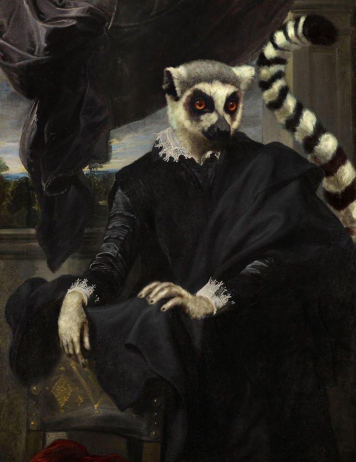 4. Виконт Лемур возрождение, животные, необычное, портрет, портреты, портреты животных, проект, художник