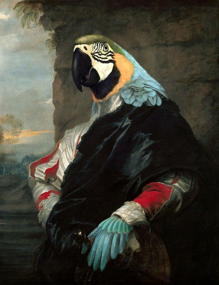 8. Герцог Попугай возрождение, животные, необычное, портрет, портреты, портреты животных, проект, художник