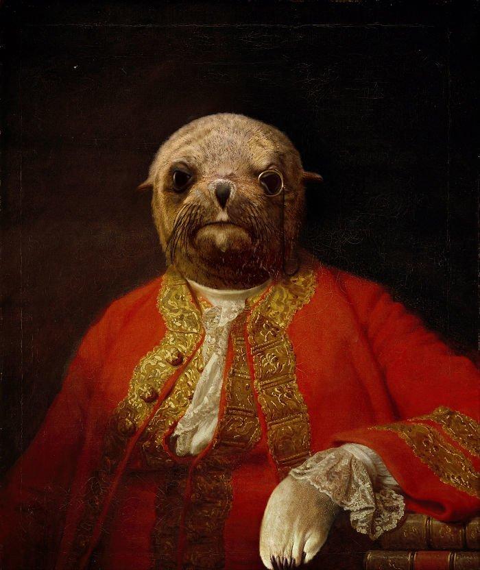 9. Лорд Тюлень возрождение, животные, необычное, портрет, портреты, портреты животных, проект, художник