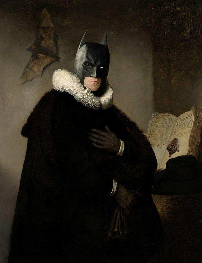 15. Дедушка Бэтмен возрождение, животные, необычное, портрет, портреты, портреты животных, проект, художник