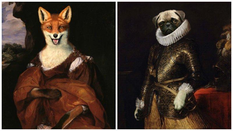 Художник вставляет животных и поп-персонажей в портреты аристократов возрождение, животные, необычное, портрет, портреты, портреты животных, проект, художник