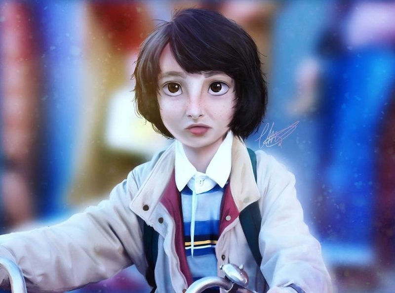 """14. Майк Уилер (""""Очень странные дела"""") иллюстрации, киногерои, мимими, мультяшки, персонажи, поп-культура, фан-арты, цифровые портреты"""