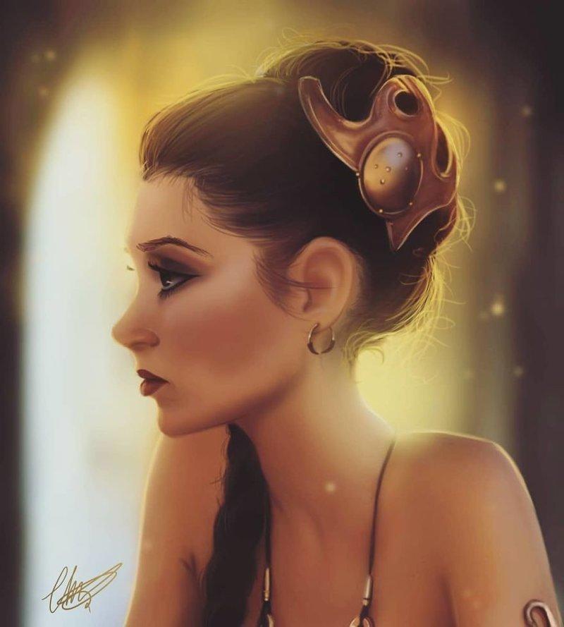 4. Принцесса Лея иллюстрации, киногерои, мимими, мультяшки, персонажи, поп-культура, фан-арты, цифровые портреты
