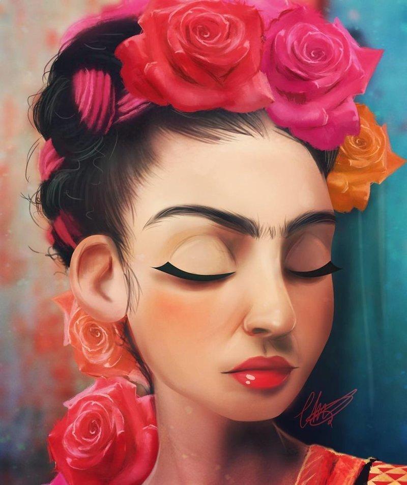 10. Фрида Кало иллюстрации, киногерои, мимими, мультяшки, персонажи, поп-культура, фан-арты, цифровые портреты