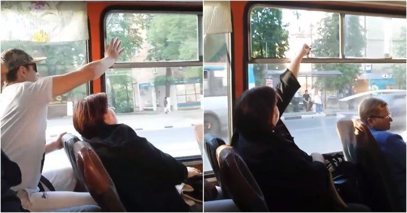 Битва за форточку в нижегородском троллейбусе видео, конфликт, нижний новгород, прикол, троллейбус, форточка, юмор