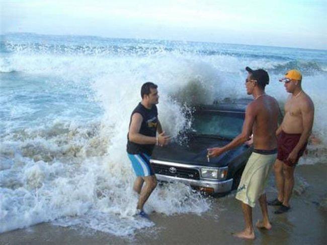 Ребят, да ладно чо вы, я тут только тачку помыть хотел жизнь, люди, отдыхающие, пляж, фейл, юмор