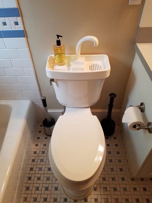 6. Туалет с раковиной  изобретение, инновация, мир, путешествие, факты, фото, япония