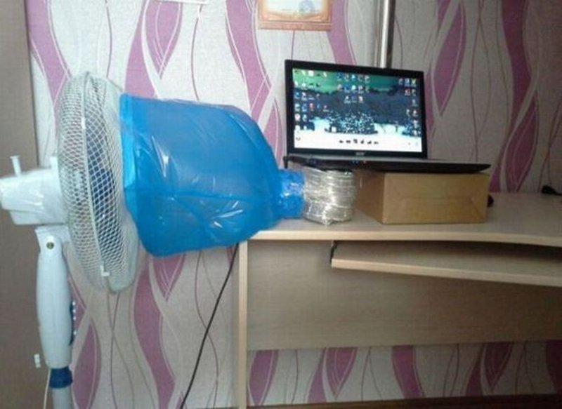 Для этого можно использовать обычный вентилятор жара, интересное, компьютер, охлаждение, перегрев, фото, юмор