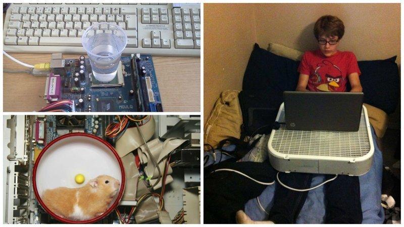 Итак, если по какой-то причине ваш компьютер перегревается, мы поможем вам его охладить в считанные секунды! жара, интересное, компьютер, охлаждение, перегрев, фото, юмор
