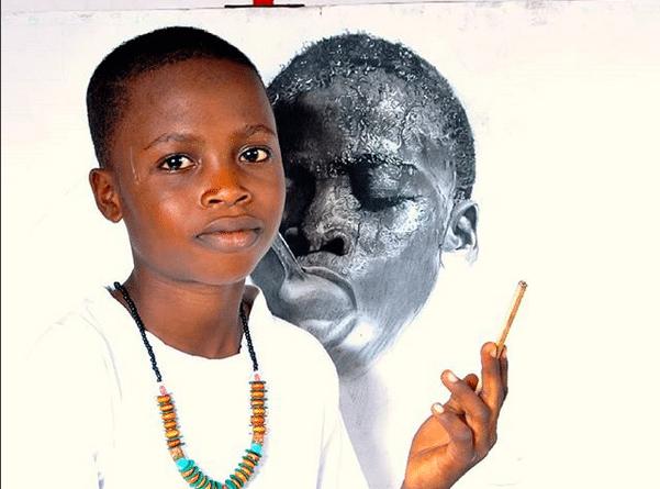 Африканский мальчик стал профессиональным художником в 8 лет африка, искусство, портрет, ребенок, рисунок, художник