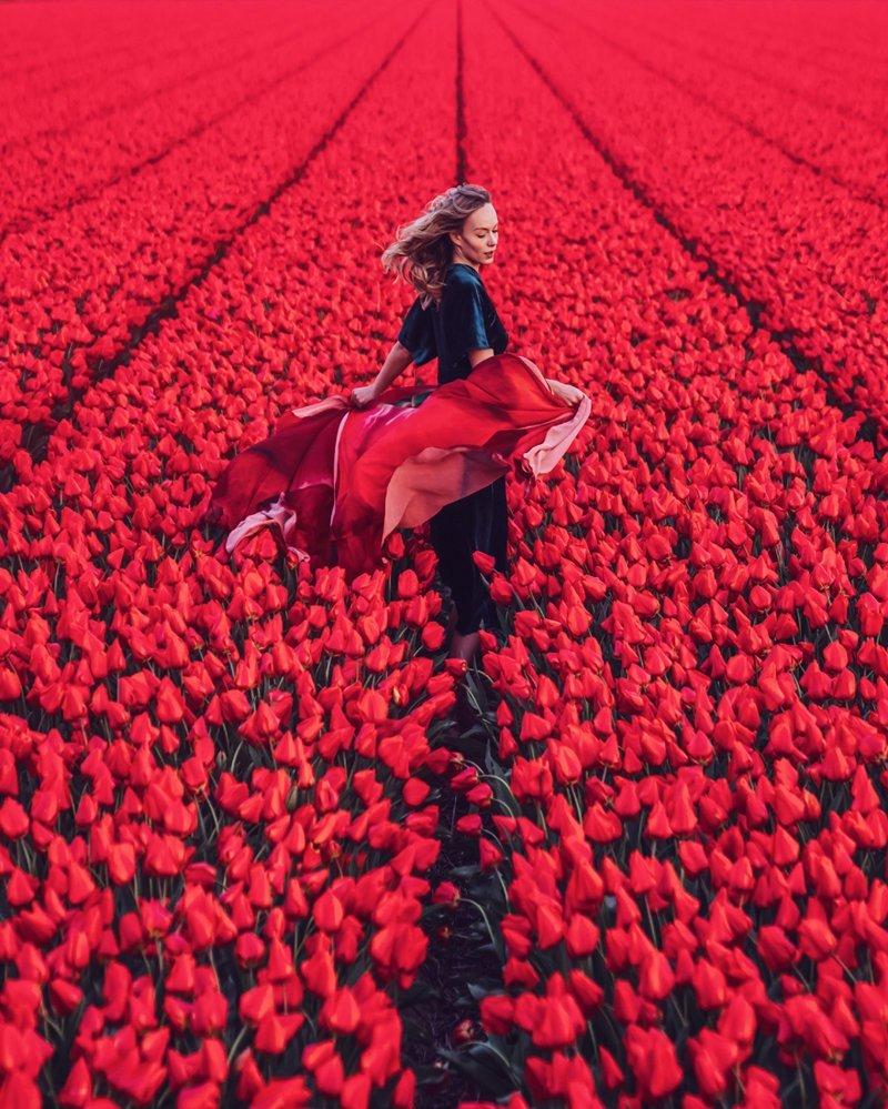 6. Северная Голландия, тюльпановое поле вау, девушки в платьях, красивые  места, красивые девушки, красота мира, модели, платья, фотопроект