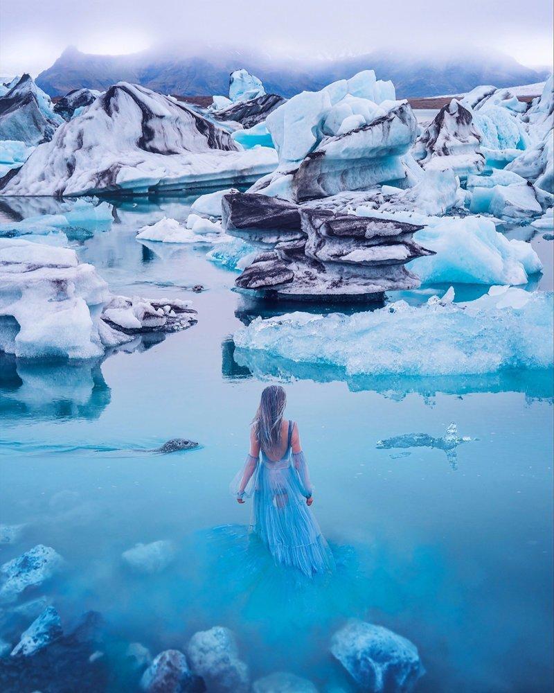 9. Ледниковая лагуна Йёкюльсаурлоун, Исландия вау, девушки в платьях, красивые  места, красивые девушки, красота мира, модели, платья, фотопроект