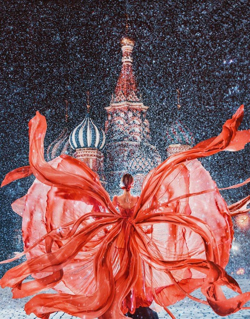 2. Красная площадь, собор Василия Блаженного, Москва вау, девушки в платьях, красивые  места, красивые девушки, красота мира, модели, платья, фотопроект