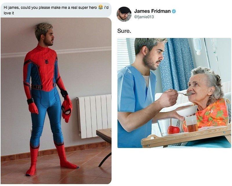 «Привет, Джеймс, можешь сделать из меня настоящего супергероя? Я был бы рад» в мире, заказ, люди, тролль, фотошоп, юмор