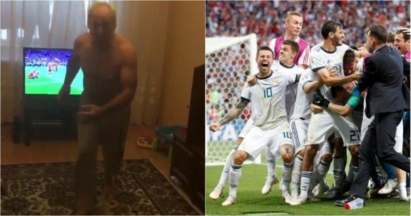 Когда ты 32 года ждал победы: бурная реакция дедушки на выход российской сборной в 1/4 финала болельщик, видео, прикол, реакция, россия, футбол, чемпионат мира, юмор