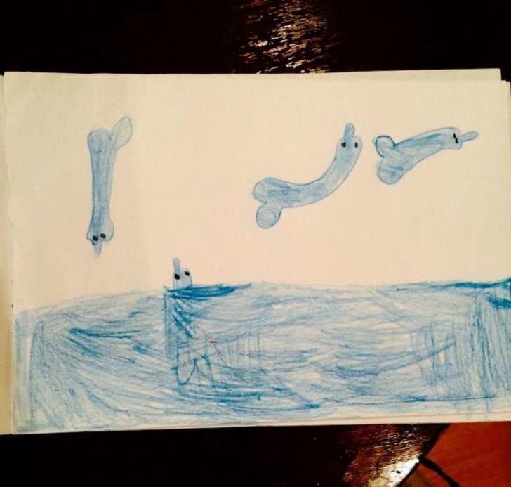 Как красиво выглядят дельфины на этой картинке дети, подборка, пошлость, прикол, рисунок, юмор