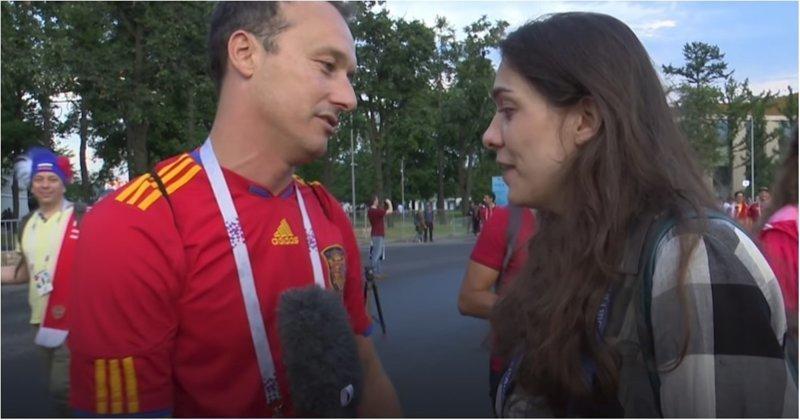 Испанский болельщик достойно прокомментировал поражение своей сборной болельщик, видео, испания, россия, спорт, футбол, чемпионат мира