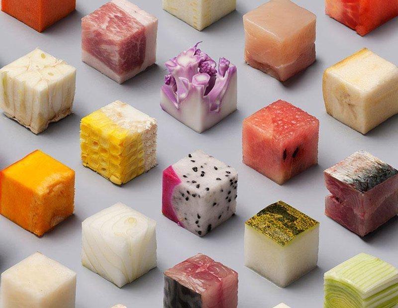 Идеально ровные кубики разных продуктов - от капусты до тунца гармония, идеально, красота, перфекционизм, совершенство, фото