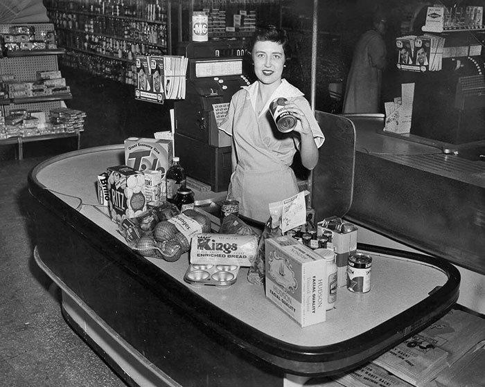 Супермаркет Kings, 1950-е винтаж, магазин, ретро, супермаркет, сша, универсам, фотография