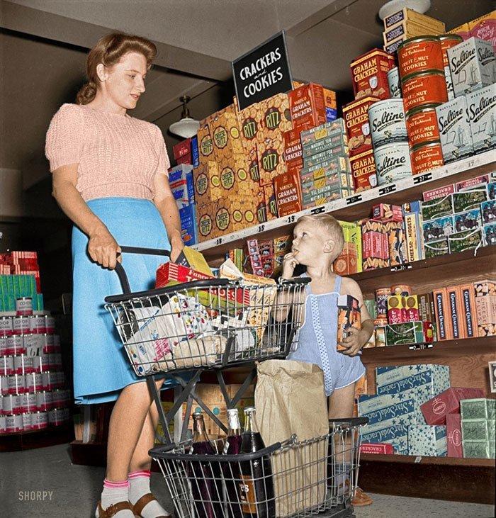 Стеллажи с печеньем и крекерами, Гринбелт, Мэриленд, 1942 год винтаж, магазин, ретро, супермаркет, сша, универсам, фотография