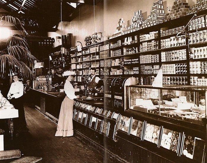 Продуктовый магазин в конце 19 века, США винтаж, магазин, ретро, супермаркет, сша, универсам, фотография