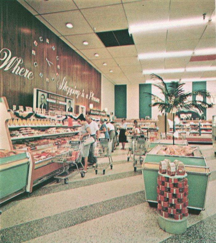 Супермаркет 1960-х  винтаж, магазин, ретро, супермаркет, сша, универсам, фотография