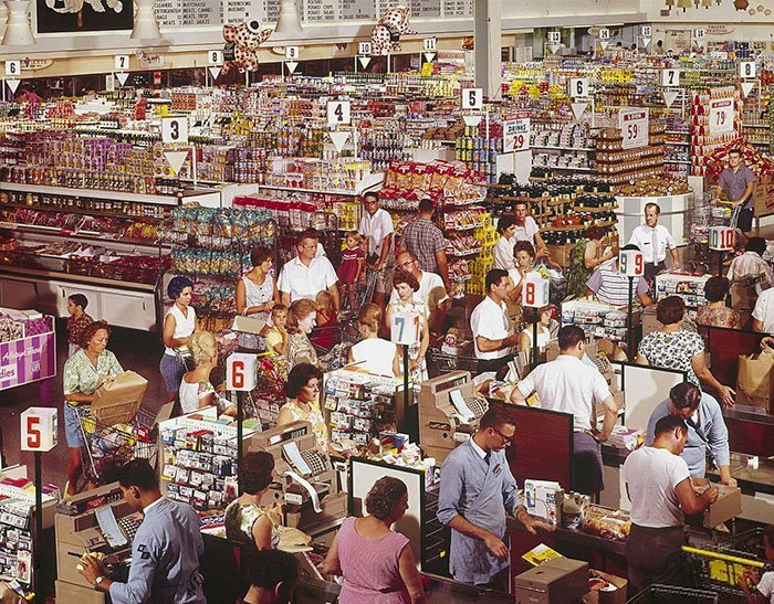 Гипермаркет в Роквилле, Мэриленд, 1964 год винтаж, магазин, ретро, супермаркет, сша, универсам, фотография