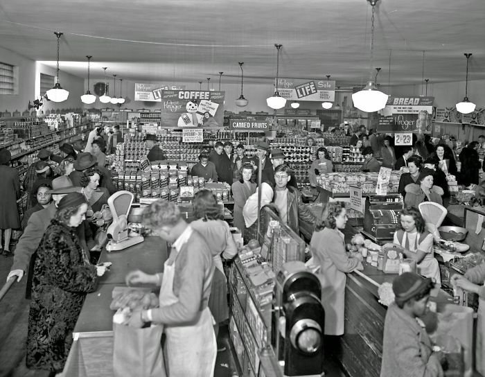 Продуктовый магазин Kroger, Лексингтон, Кентукки, 1947 год винтаж, магазин, ретро, супермаркет, сша, универсам, фотография