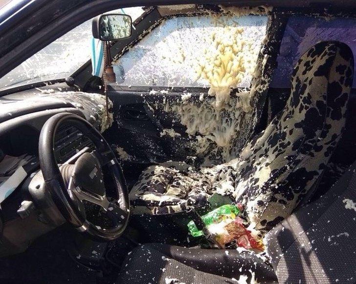 Никогда, слышите, никогда! Не оставляйте в машине баллончик с монтажной пеной, если на улице жарко неприятности, прикол, худший день, юмор