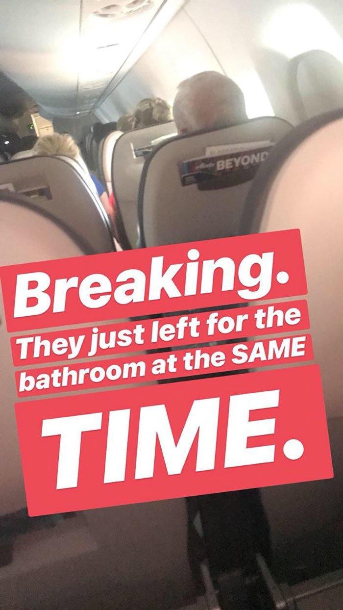 """""""Сенсационная новость. Они пошли в туалет вместе"""" и такое бывает, парочка, прикол, самолет, соцсети, соцсети жгут, твиттер, трансляция"""