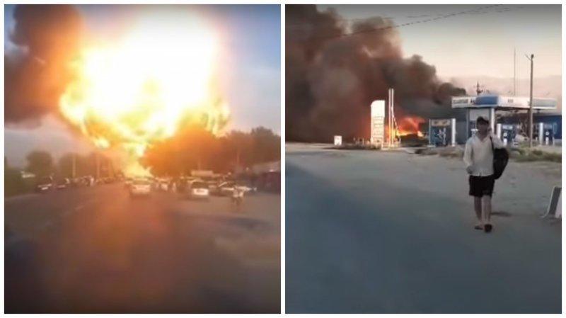 На границе Киргизии и Таджикистана взорвалась АЗС ynews, азс, взрыв, видео, интересное, катастрофа, огонь